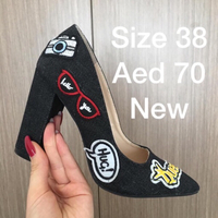 Used Funky Blue Denim Heels with patches in Dubai, UAE
