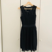 Black lace party frock and 3 silver ring