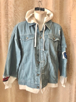 Used Hip Hop Retro Denim Jacket size M . in Dubai, UAE