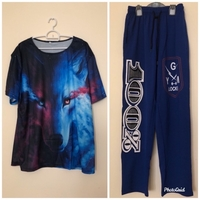 Used NEW Active Pants + 3D Wolf Shirt / 2XL in Dubai, UAE