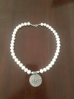Used Round silver pendant with pearl necklace in Dubai, UAE