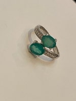 Used Sterling silver green stones CZ Ring  in Dubai, UAE