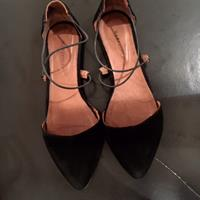 Used Hakei Suede Shoes. Black. Flat. Pointed Toes Crossed Front. Sz 38. in Dubai, UAE
