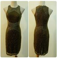 Elegant Short Dress Handmade Brown Color