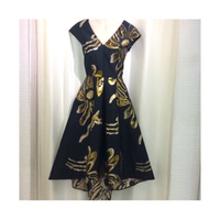 Used Floral Jacquard Blue Gold Dip Hem Dress in Dubai, UAE