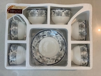 Used New 6 Cups & Saucer Set Blue Floral in Dubai, UAE