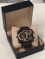 Oulm Brown Fabric Strap Watch