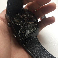 oulm black leather watch