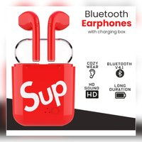 Used Red Sup i7s earbuds with charging case in Dubai, UAE