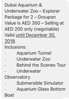 Used Ticket to Dubai Aquarium in Dubai, UAE