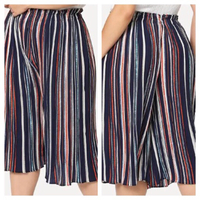 multicolored striped culottes size M