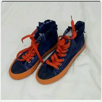 highcut denim orange shoes size-35