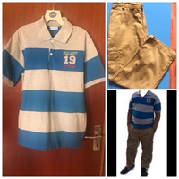 Used Boys Set Tee Shirt,Cargo Brown Pant💙💙 in Dubai, UAE