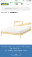 Used IKEA wood bed. 2meter. With cussion in Dubai, UAE