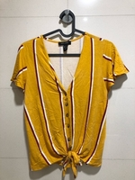 Used Yellow striped tie front shirt in Dubai, UAE