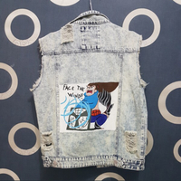 Used DENIM VEST HAND PAINTED by BLVCKATLAS in Dubai, UAE