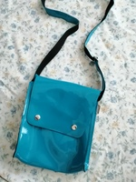Blue  glossy faux leather cute sling