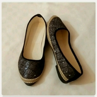 Used Black shiny FLAT SHOES size-38 New in Dubai, UAE