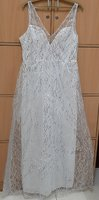 Used V-neck Sequin White Dress for her, XL ! in Dubai, UAE