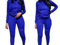 Royal blue ripped long sleeve tracksuit