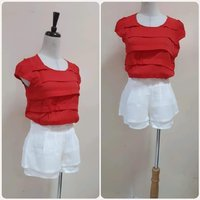 Used Red top with white short fashionable . in Dubai, UAE