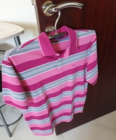 Used Polo Shirt Stripes PinkGrayWhite in Dubai, UAE