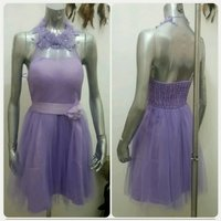 Purple short dress backless