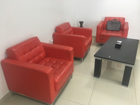 Used 3 Red sofa and coffee table 400aed in Dubai, UAE