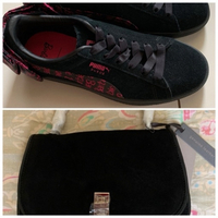 Used Suede leather sling bag and sneakers  in Dubai, UAE