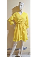 Used Yellow ruffle dress/medium size in Dubai, UAE