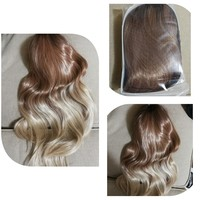 Synthetic hair wig brown and blond