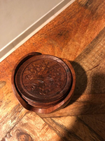 Hand carved wooden tea coffee coasters