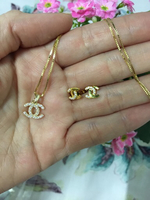 18k real gold Necklace and earrings set