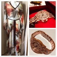 Used Chiffon dress size XL & rose gold watch in Dubai, UAE