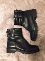 Used Real Leather Black Stylish Biker Boots  in Dubai, UAE