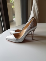 Used Authentic Louboutin Silver Heels36.5 New in Dubai, UAE