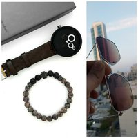 Used Genuine Leather Watch▪+Glasses▪+Bracelet in Dubai, UAE