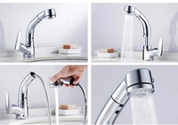 Used Adjustable pull out sink tap, silver in Dubai, UAE