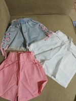 Used 3 pcs girls shorts + free hair clips in Dubai, UAE