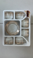 Used 6 Cup & Saucers Gold & Silver Set  in Dubai, UAE