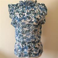 Mango Turquoise Leaves Print Sheer Blouse. Brand New Still With Tags. Size SMall.