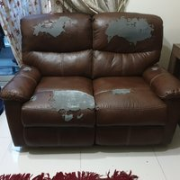 Used Recliner sofa 2 seater (brown leather ) in Dubai, UAE