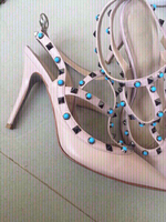 Used genuine leather studded heels, 41 in Dubai, UAE