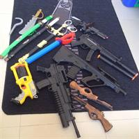 16Pcs Toy Guns & Swords For Boys. Used But In Fairly Good Condition.
