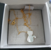 10k real gold cat MOP necklace