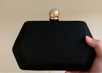 Used New black pearl clutch last price  in Dubai, UAE
