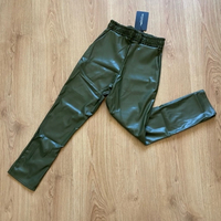 Used PLT Khaki faux leather joggers (new) in Dubai, UAE