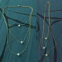 Used Plated gold necklace pearl 3 in 1 New ! in Dubai, UAE