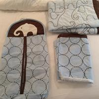 Used Carters Blue And Brown Elephant Set (blanket, Nappy Holder, Cot Dust Liner). in Dubai, UAE