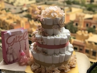 Used 3 tier rose diaper cake in Dubai, UAE